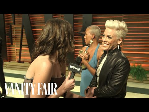 Pink at the 2014 Vanity Fair Oscar Party-V.F. Academy Awards Party