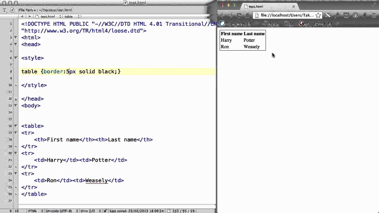 Css 17 table border collapse width and height youtube - Html code to create a table ...