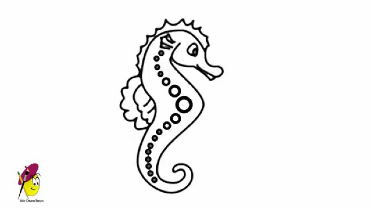 sea horse sea creatures easy drawing how to draw a sea horse