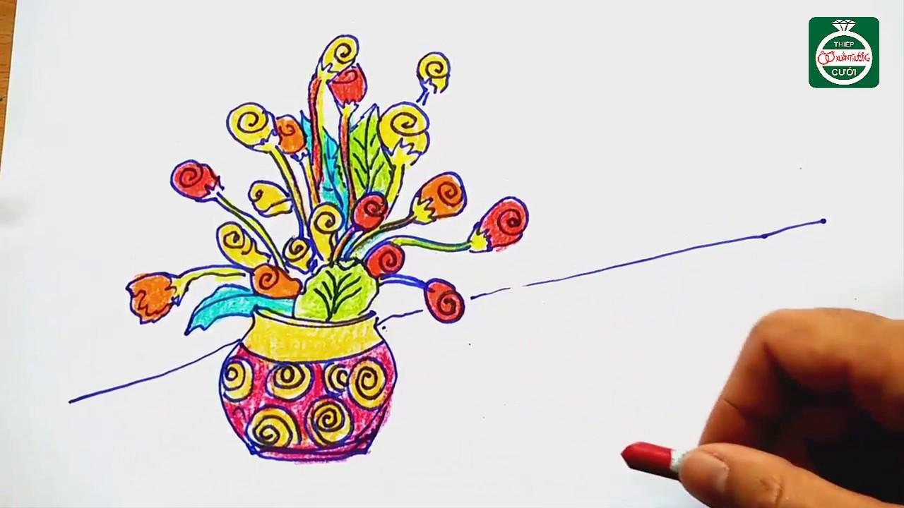 how to draw still flowers – tranh tinh vat – tô màu