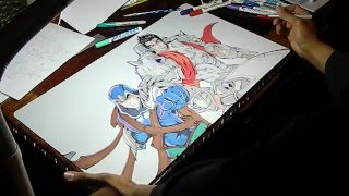 Drawing Talon and Darius (League of Legends) Playmat