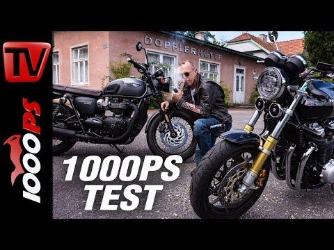 1000PS Test - Retro-Gemetzel - Honda CB1100RS vs. Triumph T120 Black