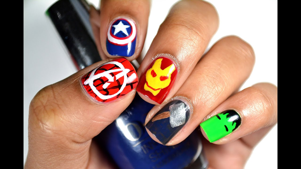 DIY: Disney Marvel\'s The Avengers Minimalist Nail Art - YouTube