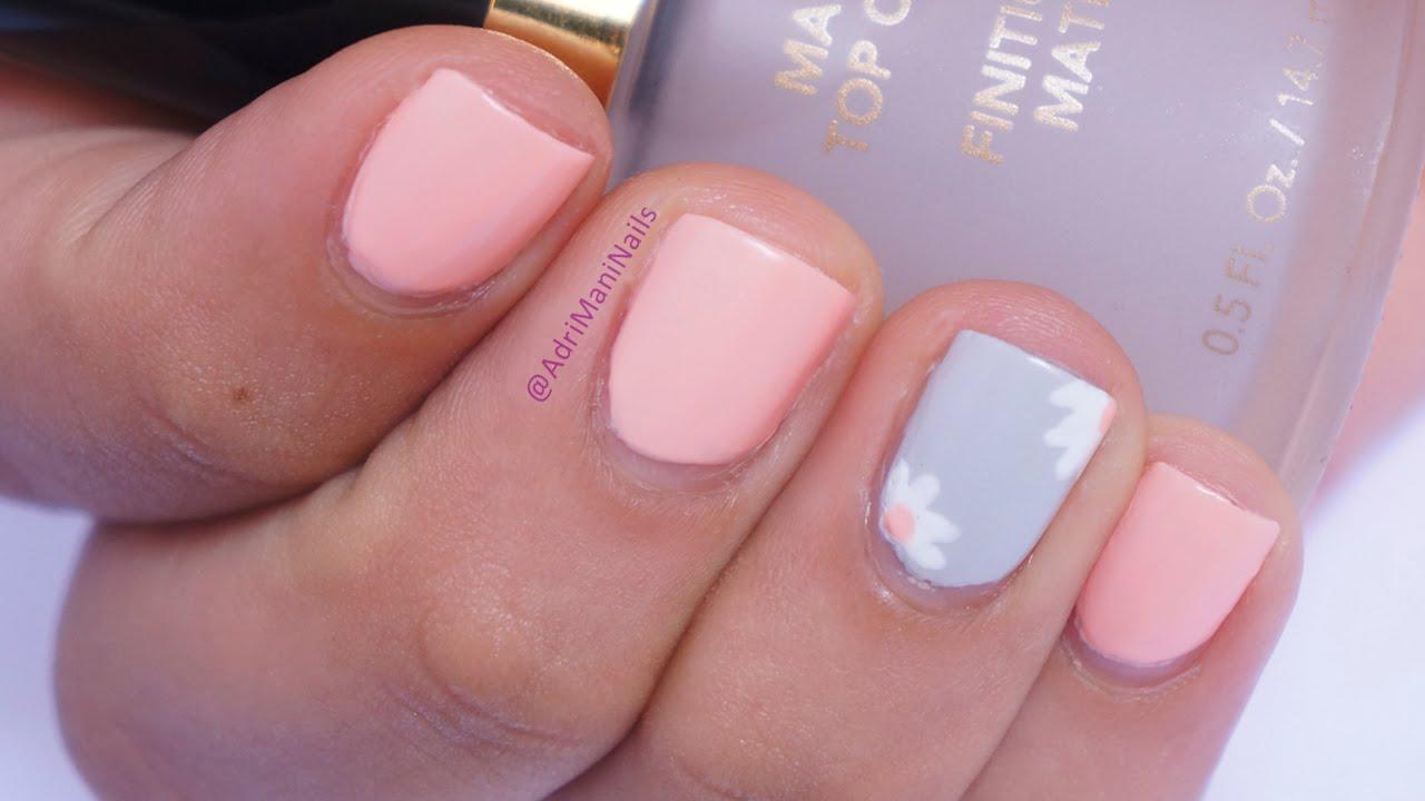 Diseño mate para uñas cortas - Nail art fácil y rápido - YouTube