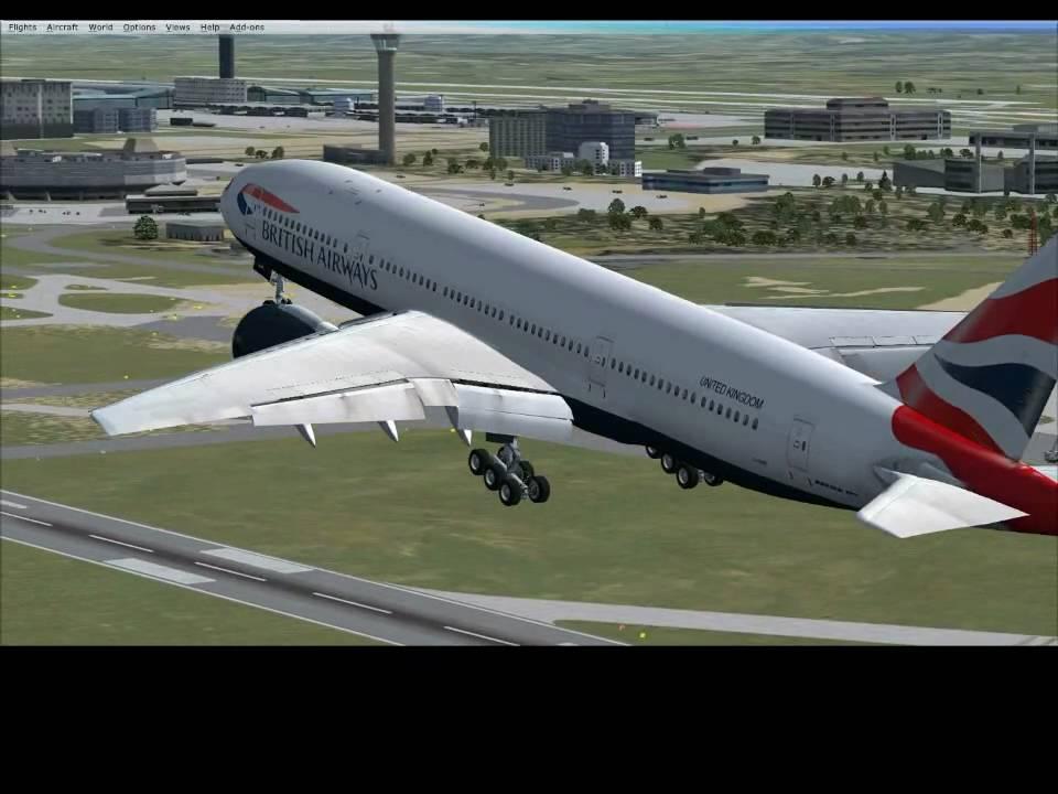 Fsx Wilco Boeing 777-200 British Airways landing at paris