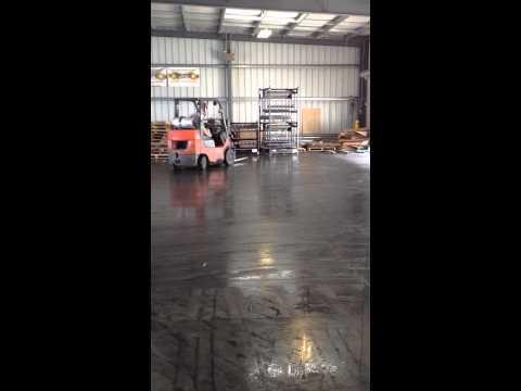 Forklift on wet dock