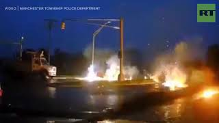 Man causes an electrical fire at an intersection in Manchester Township, New Jersey