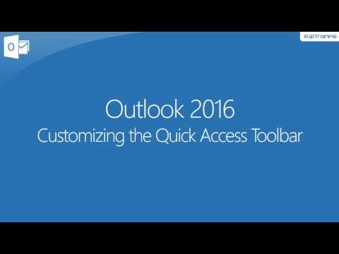 Customizing The Quick Access Toolbar - Outlook 2016