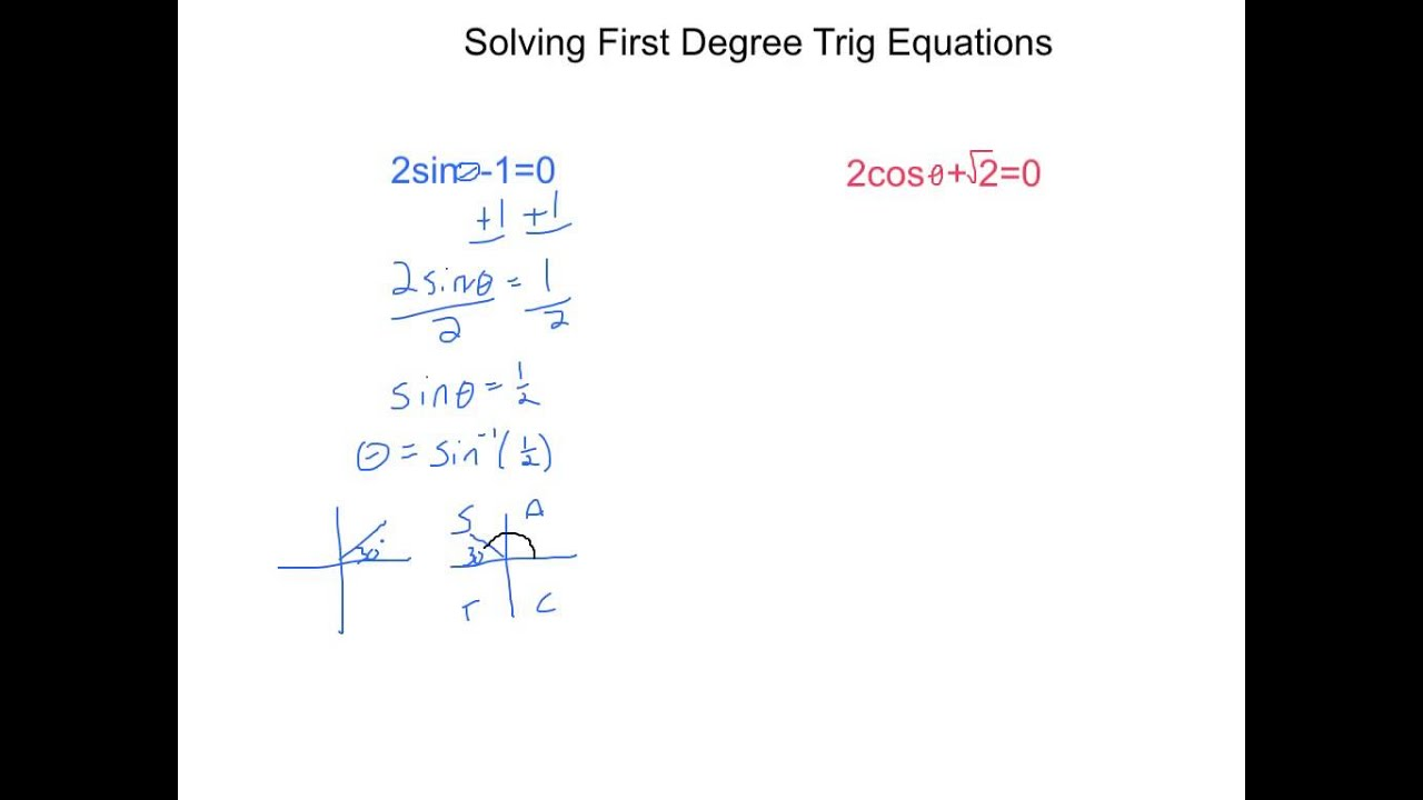 Solving First Degree Trig Equations YouTube – Trig Equations Worksheet
