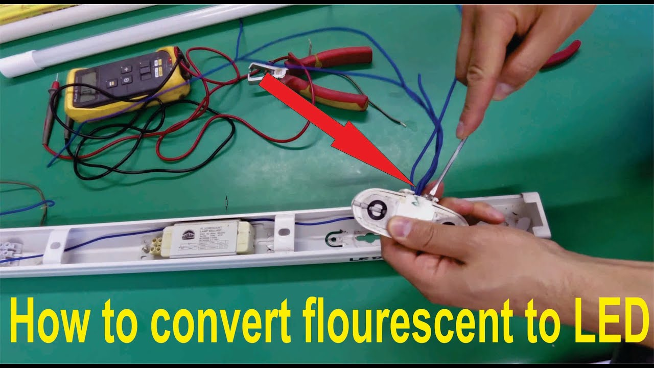 how to convert fluorescent light fitting t8 or t12 for led tubes step by step  [ 1280 x 720 Pixel ]