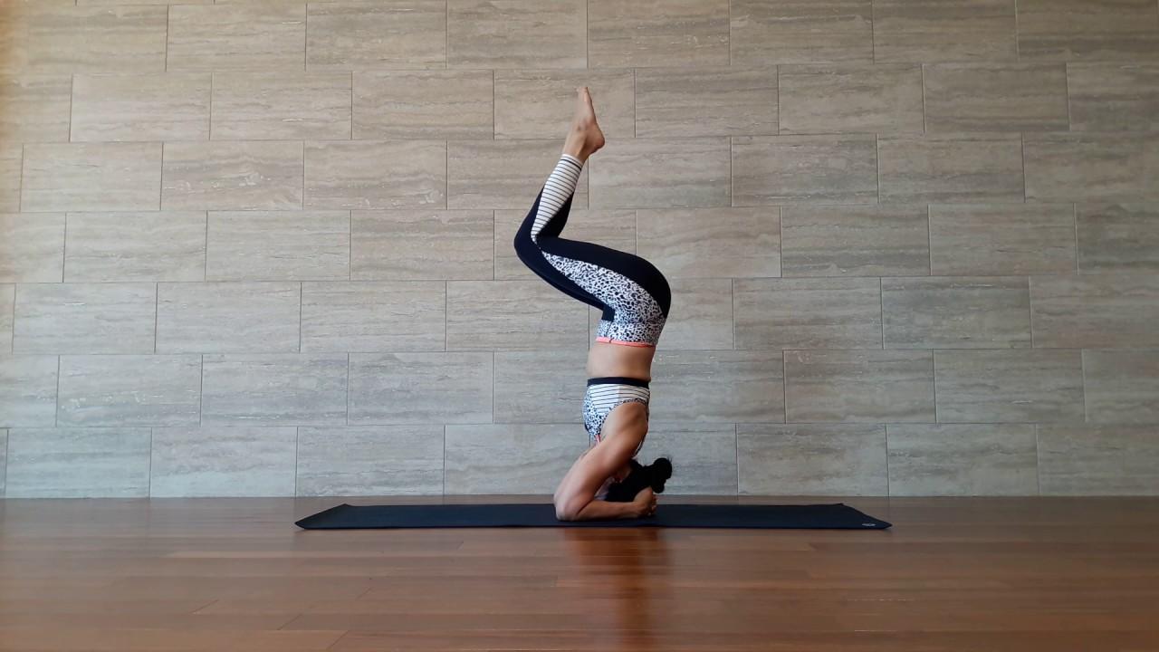 Yoga Asana - Salamba Sirsasana with Bow & Arrow Legs - YouTube