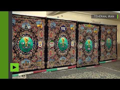 Des tapis brodés des symboles de la Coupe du monde en Russie présentés à Téhéran
