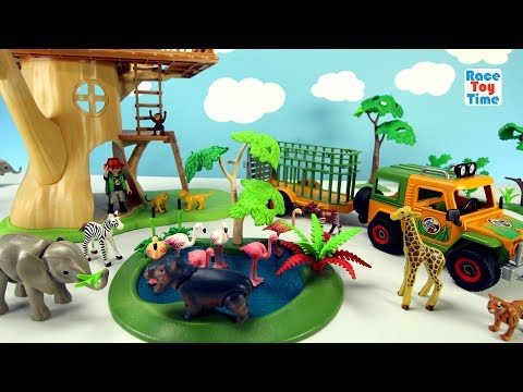 Thumbnail: Playmobil Animal Transporter with Baby Safari Animals For Kids - Elephant Giraffe Lions