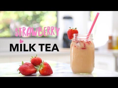 Strawberry Milk Tea Recipe ♥ 4 Simple Ingredients (All Natural)