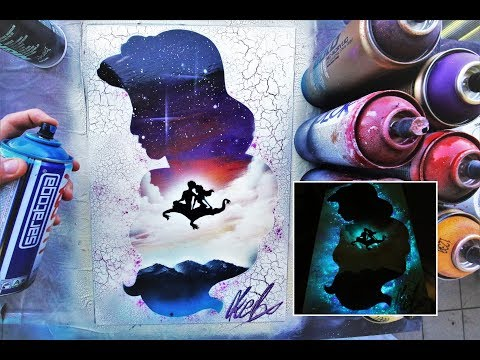 Aladdin GLOW IN DARK - SPRAY PAINT ART - by Skech
