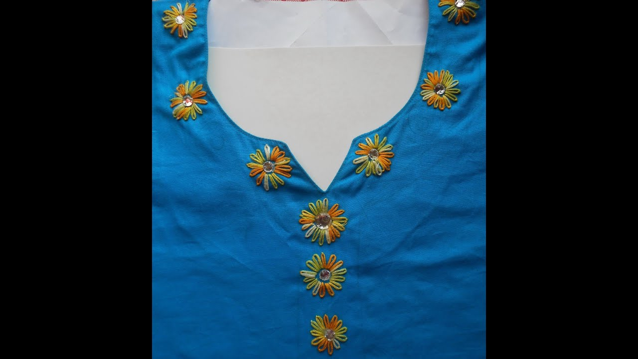 Hand embroidery how to decorate neckline using lazy daisy