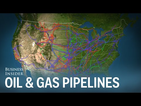 Animated map of the major oil and gas pipelines in the US