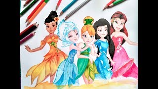 How to color Disney fairy || TINKER BELL with other fairies || TIME LAPSE DRAWING