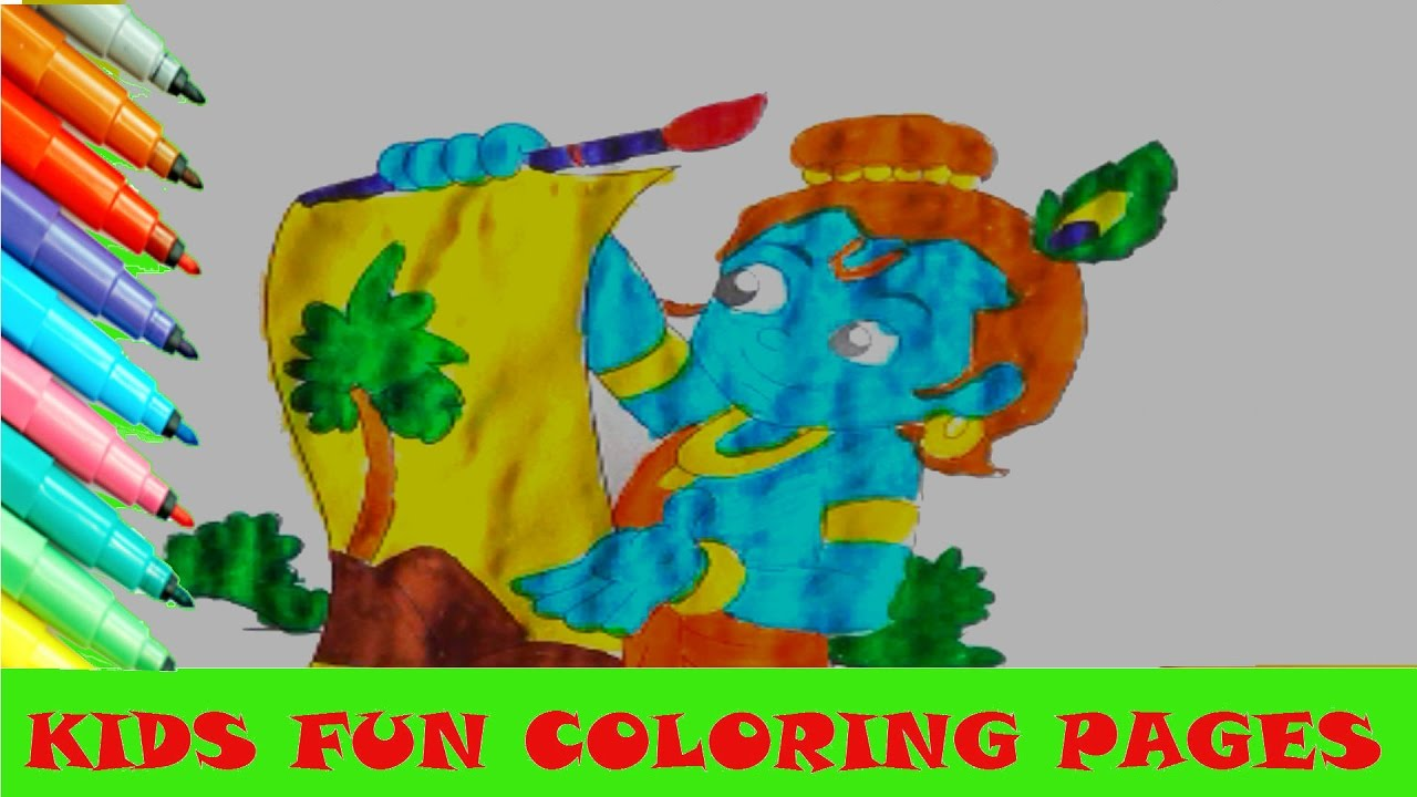 baby krishna cartoon coloring page for kids fun activity colour