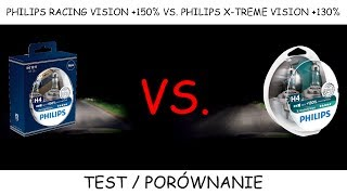 Philips H4 Racing Vision +150% vs. Philips H4 X-treme Vision +130% | TEST