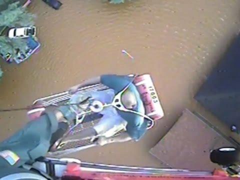 Raw: Coast Guard Rescues Louisiana Flood Victims