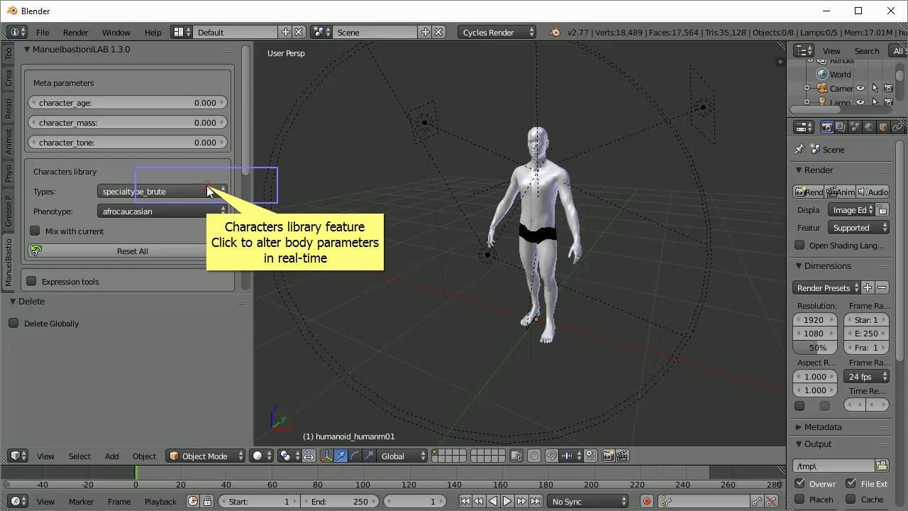 Free automatic Blender human character generator : ManuelBastioniLab