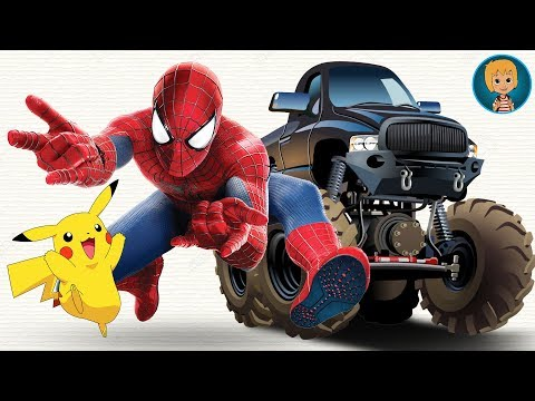 SpiderMan Cartoon Car vs Pikachu and Hombre Araña Monster Trucks | Gertit ToysReview