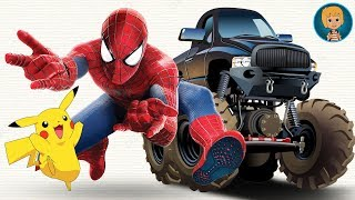Spider Man Car VS Hulk Cars And Pikachu and Hombre Araña Monster Trucks from Gertit ToysReview