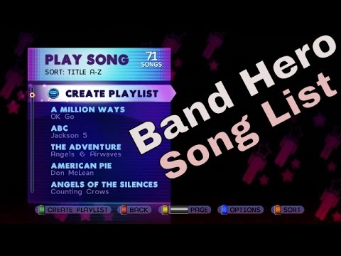 What Songs Are On Band Hero? All / Full Song List Scroll Base Game HD Gameplay Video BH
