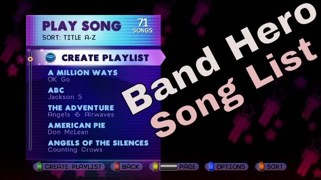 what songs are on band hero all full song list scroll base game hd gameplay video bh youtube. Black Bedroom Furniture Sets. Home Design Ideas