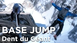Dent du Géant Face Sud Ouest Plaques Burgener base jump alpinisme Chamonix Mont-Blanc massif - 6662