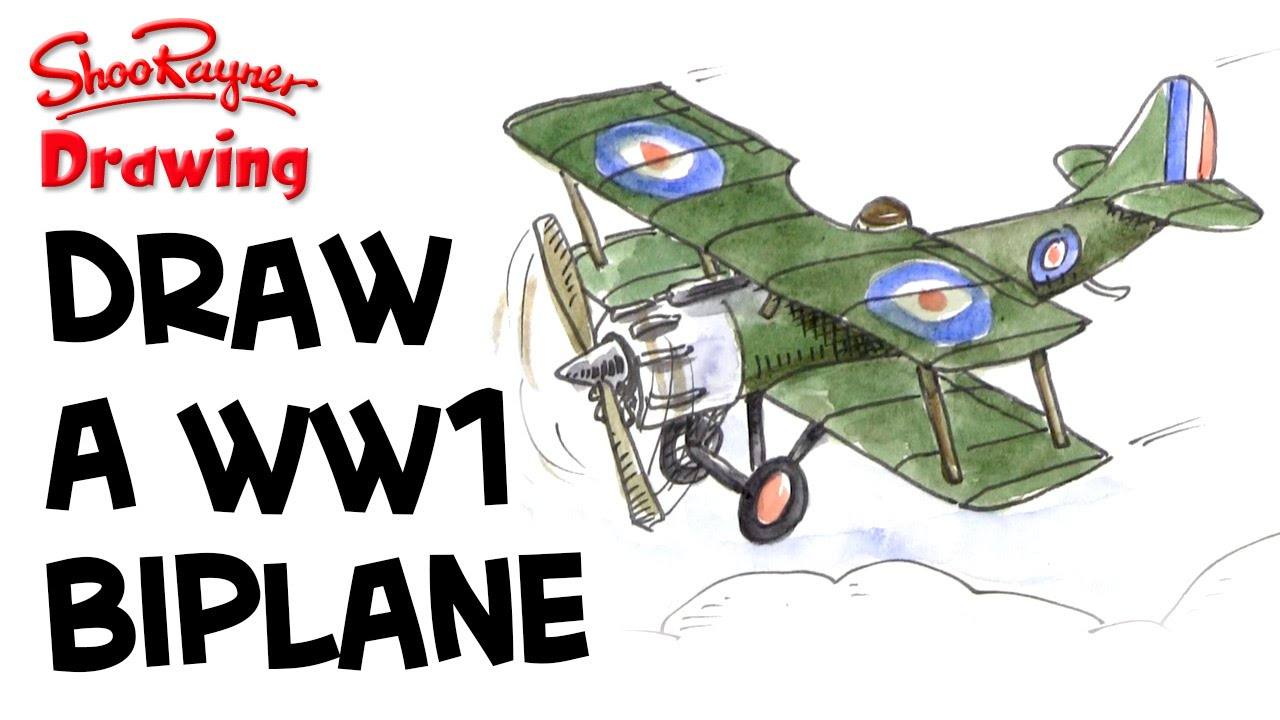 How To Draw A Wwi Biplane Sopwith Camel Pup Youtube