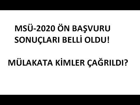 MSÜ-2020 TERCİH SONUÇLARI BELLİ OLDU!