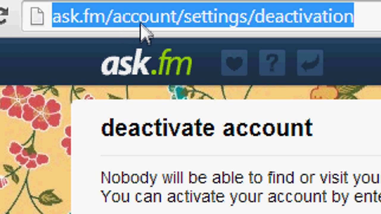 How To Deactivate Your Ask Fm Account Youtube