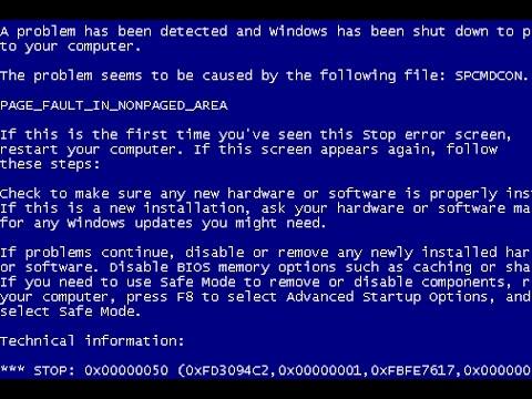 حل مشكلة الشاشة الزرقاء في الويندوز