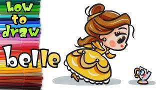 How to Draw Disney Princess Belle from Beauty and the Beast Cute - learn to draw - drawing lessons