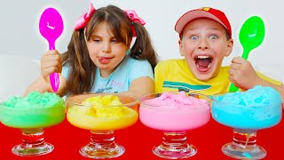 Ali and Adriana Playing and Making colored Ice cream in a Ball
