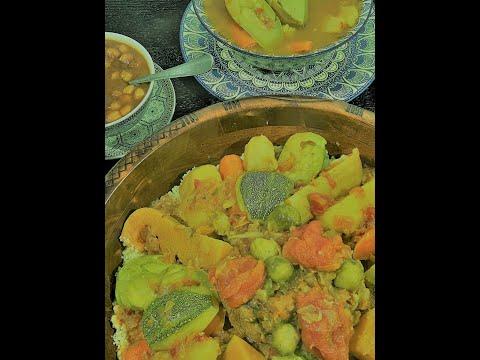 recette-couscous-traditionnel-au-7-légumes-raisins-sec-poichiche-الكسكس-مع-7-خضروات-تفايا-حمص👍