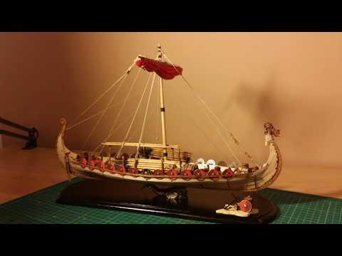 Wooden ship model viking long ship