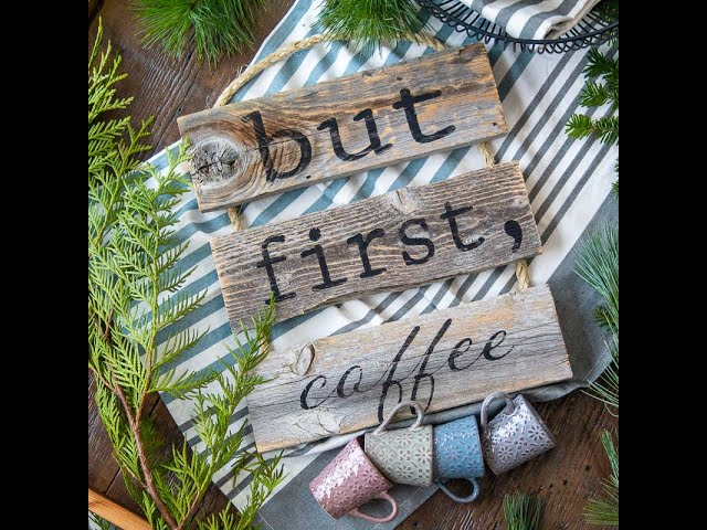 Rustic Rope Ladder Sign - But First, Coffee