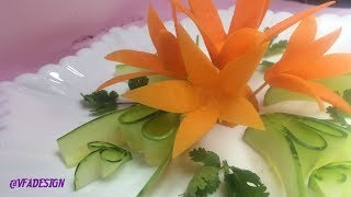 Gorgeous Carrot Rose With Cucumber Design - Vegetable Flower Carving & Decorating