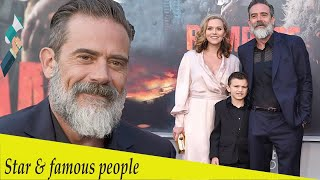 Jeffrey Dean Morgan goes to Rampage debut with Hilarie Burton and son