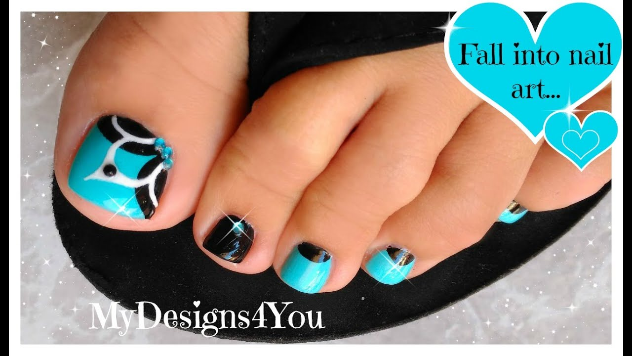 Baby Blue, Floral Toenail Art, Pedicure Tutorial ♥ - YouTube