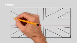 British Flag Drawing Tutorial For Kids How To Draw United Kingdom Flag Step by Step