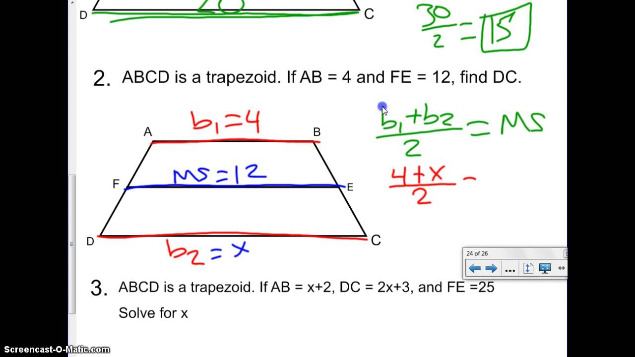 Trapezoid midsegment theorem youtube trapezoid midsegment theorem ccuart Choice Image