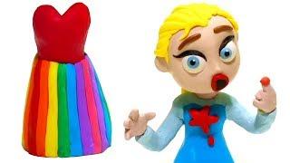 Frozen Elsa Rainbow Dress 💕 Superhero Babies Play Doh Stop Motion Cartoon