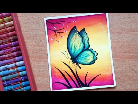 Easy Butterfly Scenery Drawing with Oil Pastels - Step by Step