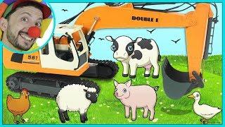 Funny Clown Bob & Construction vehicles toy RC Excavator Help Farm Animals