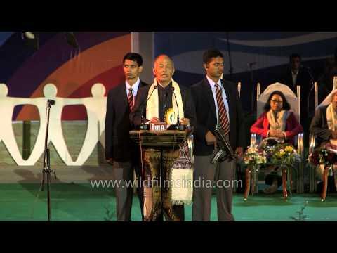 CM Ibobi Singh delivering speech at Sangai Fest 2013