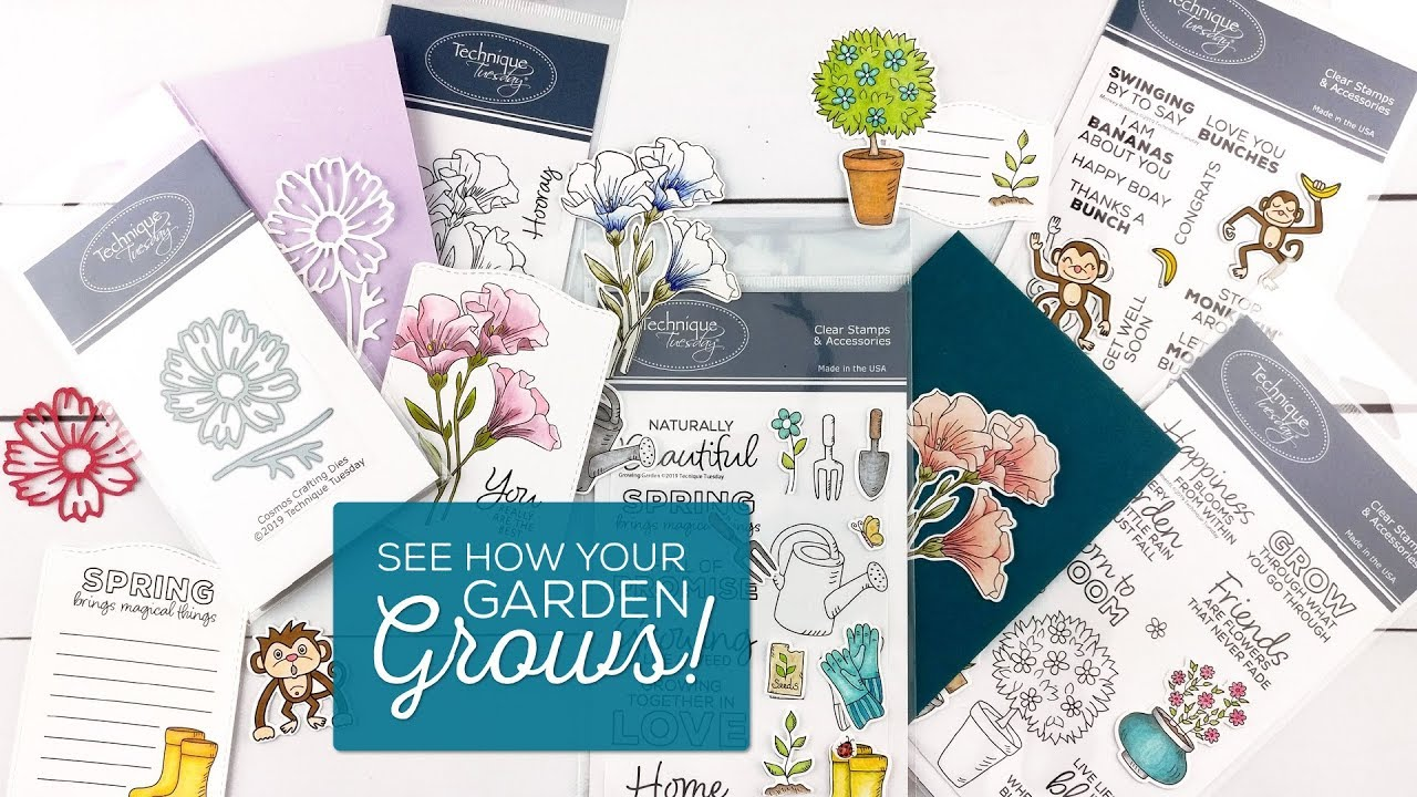 April 2019 New Release Video - New Clear Stamps and Dies About Monkeys,  Spring Flowers, and Gardens